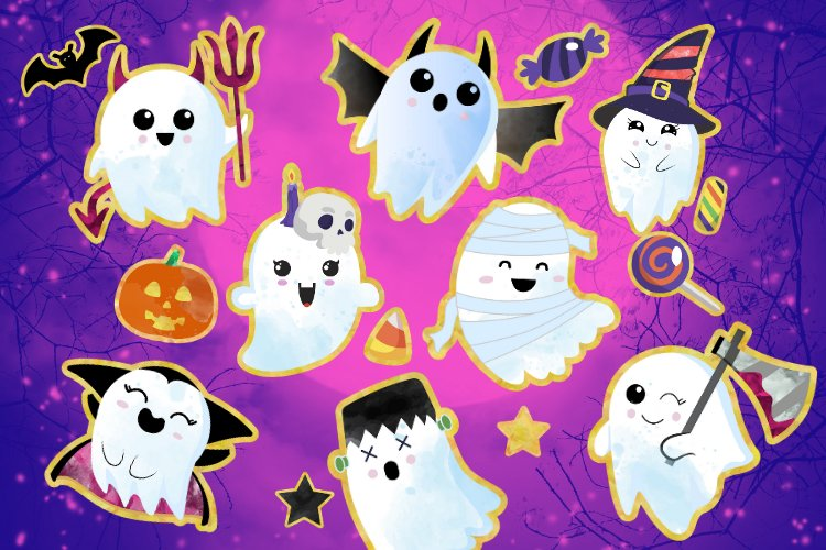 Cute Halloween Clipart, Halloween clipart, ghost clipart example image 1