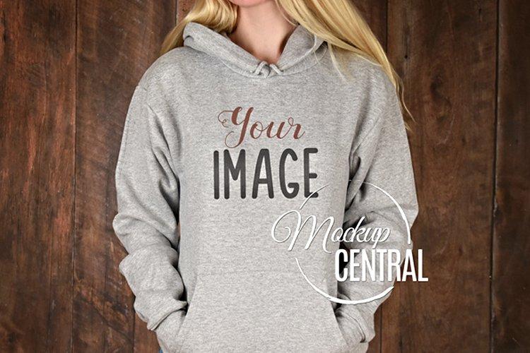 Gray Hoodie Sweatshirt Mockup, Grey Shirt Mock Up on Woman example image 1