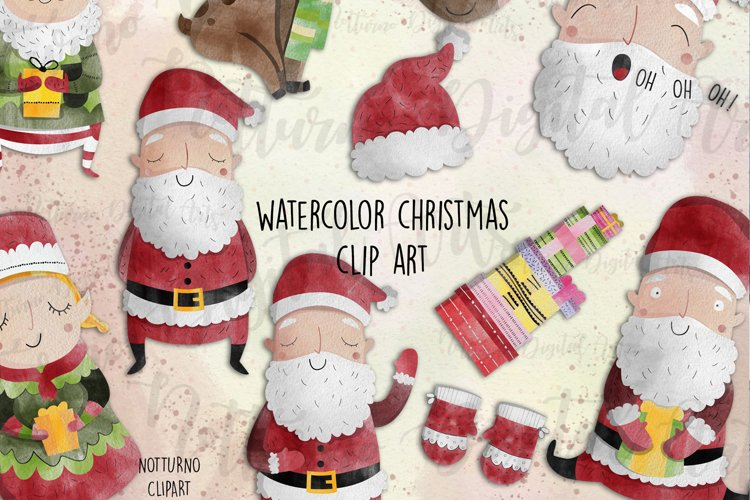 Watercolor Christmas Clipart | 12 clipart. example image 1