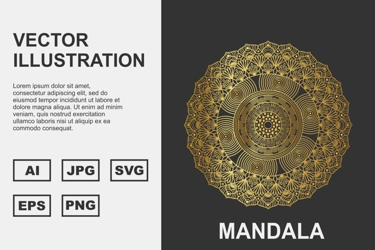 Golden Vector mandala Illustration Design example image 1
