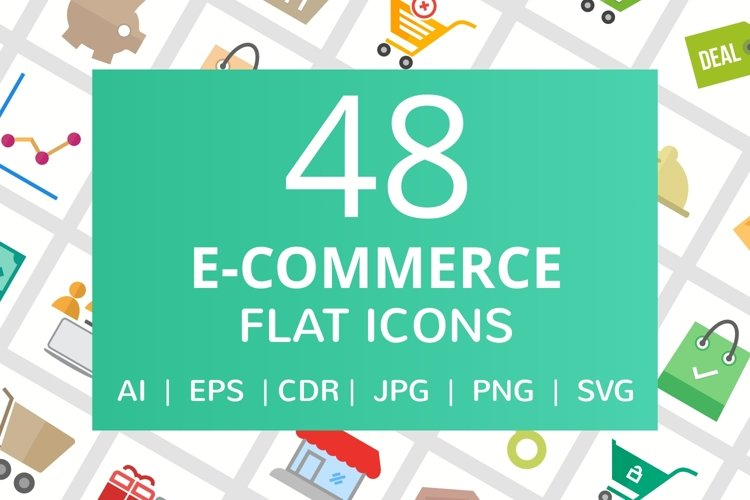 48 E-commerce Flat Multicolor Icons  example image 1