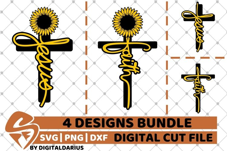 4x Sunflower Cross Designs Bundle, Faith svg, Jesus svg, God
