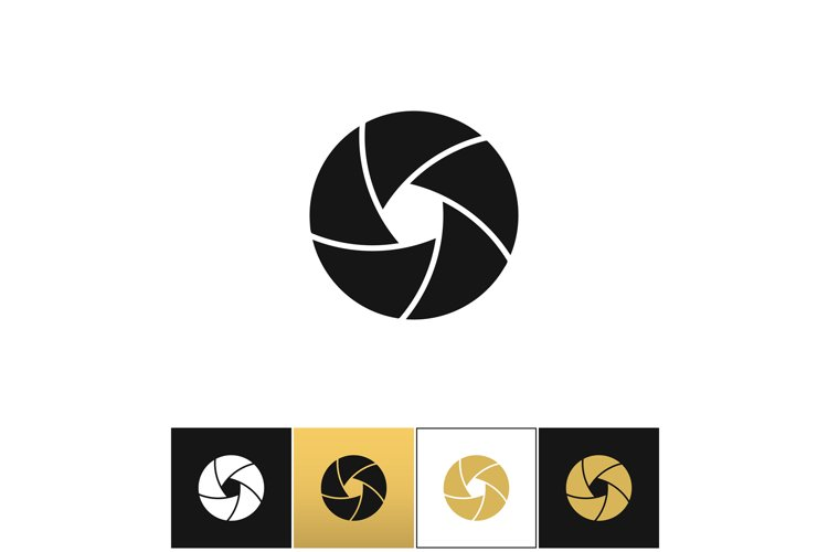Camera shutter or photography diaphragm vector icon example image 1