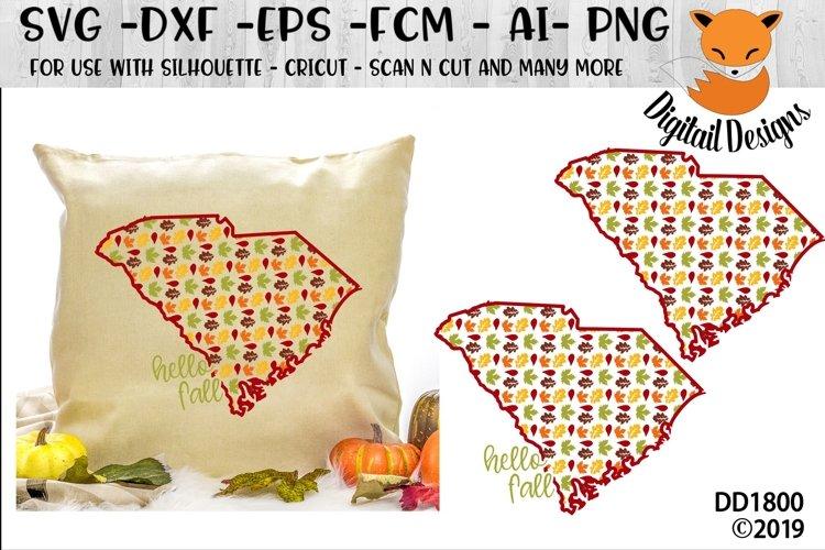 South Carolina Autumn Fall Leaves Pattern SVG example image 1