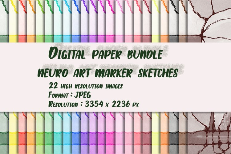 "Digital paper bundle neuro art marker sketches ""Village"" example image 1"