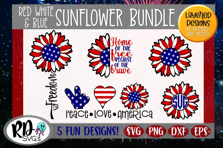 Red White and Blue Sunflower - A Cricut SVG Cut File Bundle