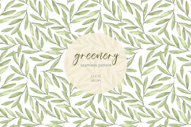 Watercolor greenery digital paper. Botanical pattern. example image 1