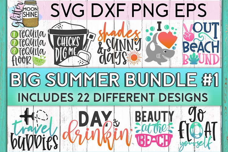 Big Summer Bundle of 22 SVG DXF PNG EPS Cutting Files #1 example image 1