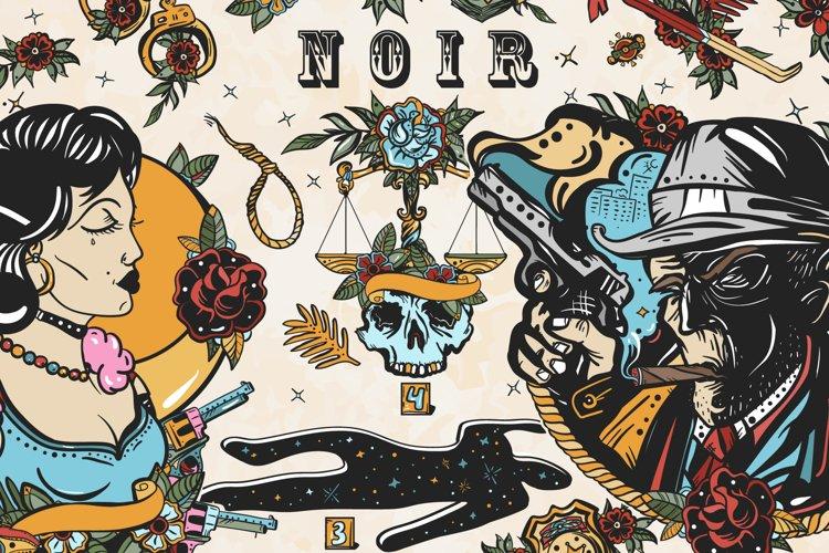 Noir old school tattoo example image 1