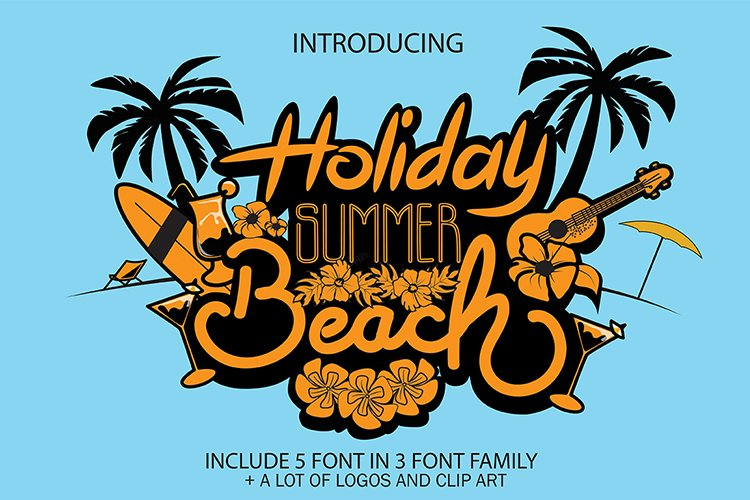 Holiday Summer Beach - 3 Font Family example image 1