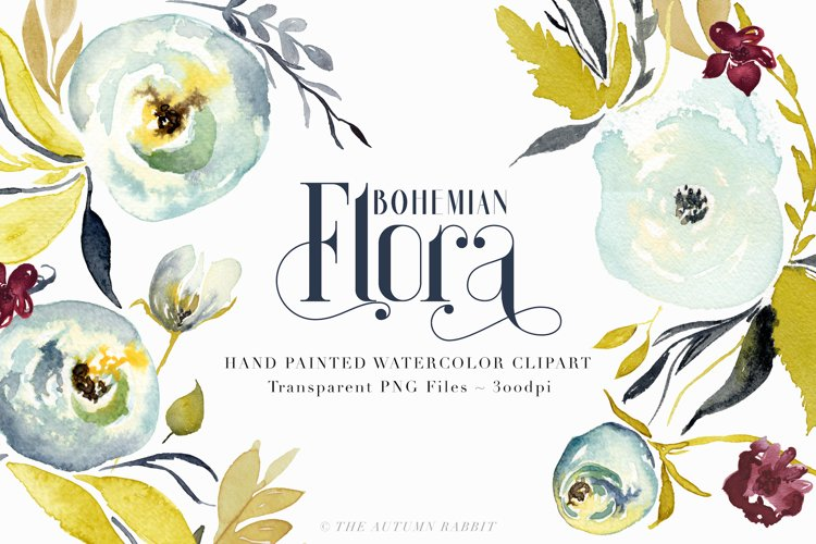 Bohemian Flora - Watercolor Clipart example image 1