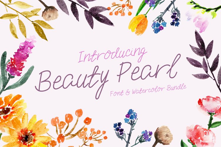 Beauty Pearl Font & Watercolor Floral Bundle example image 1