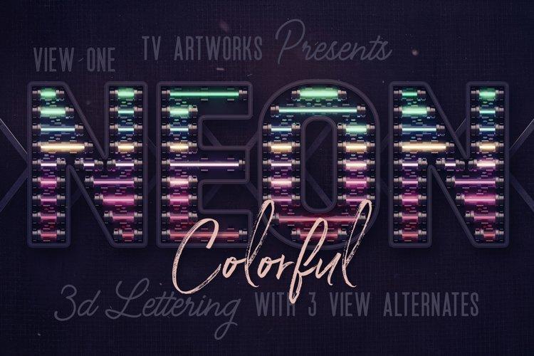 Colorful Neon 3D Lettering