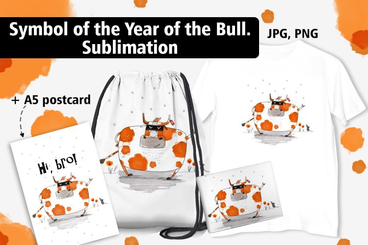 Bull illustration. Sticker. Symbol of the New year. example image 1