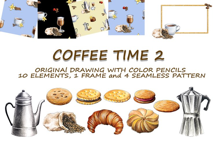 coffee time 2, drawing with watercolor pencils
