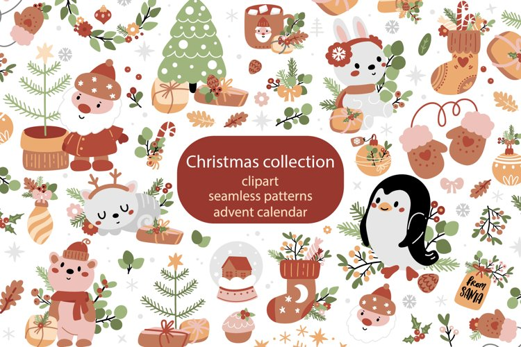 Christmas collection with cute animals example image 1