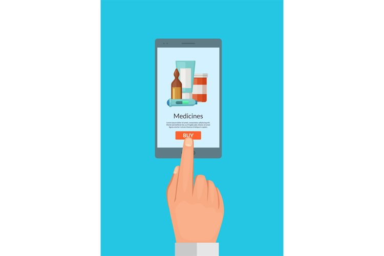 Vector buy online medicines concept illustration for pharmac example image 1
