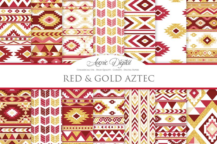 Red and Gold Glitter Boho Seamless Patterns example image 1