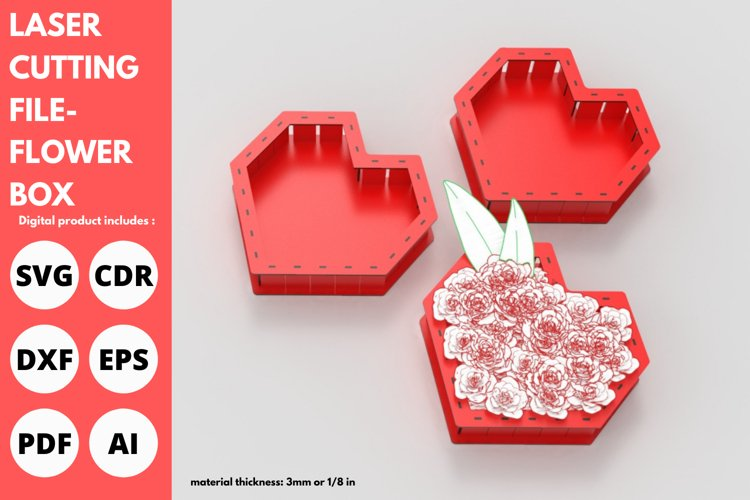 Flower Box- Laser cutting File example image 1