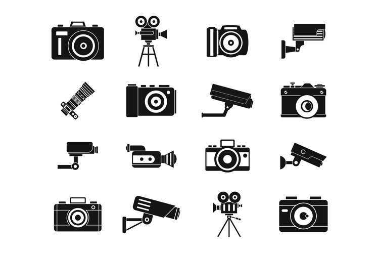 Camera icon set, simple style example image 1
