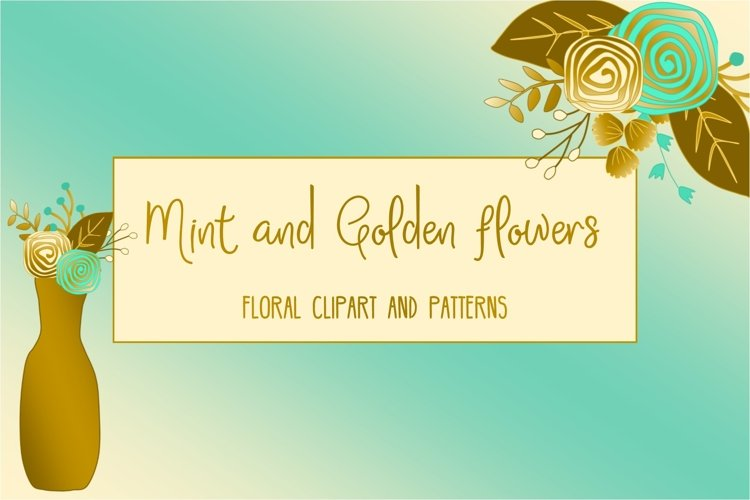Gold and mint  floral collection. Clip art and patterns. example image 1