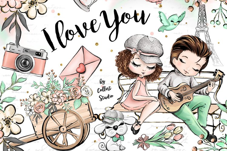 Valentines Day clip art, love illustrations, Romantic