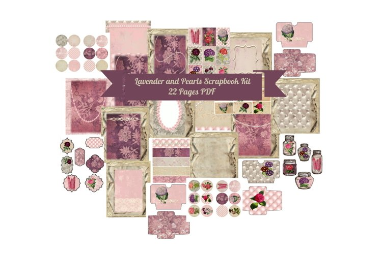 Lavender Pearls Journal Scrapbook Kit, 22 Pages example image 1
