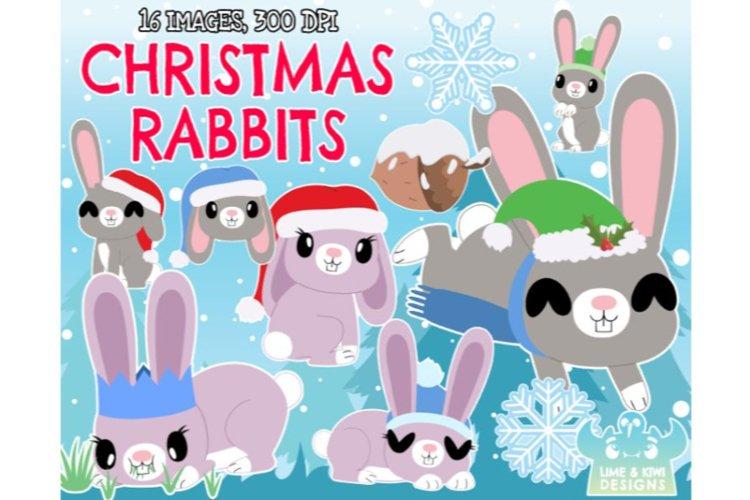 Christmas Rabbits Clipart - Lime and Kiwi Designs