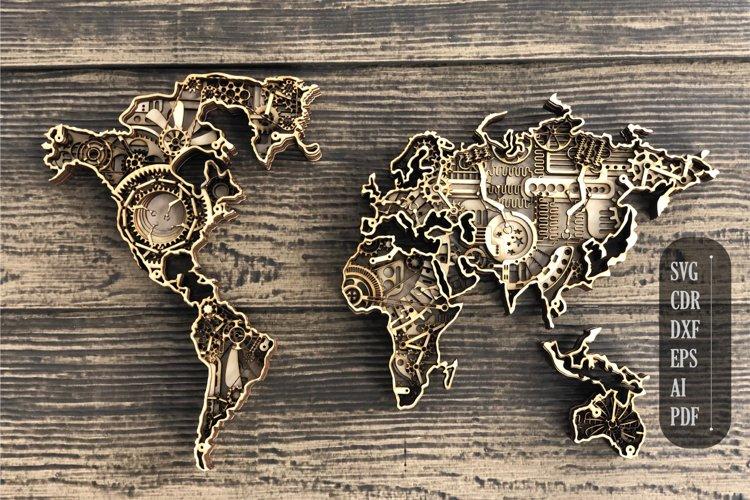 Layered Steampunk World Map Mandala, 3d mandala svg