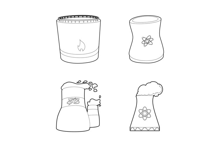 Power plant icon set, outline style example image 1