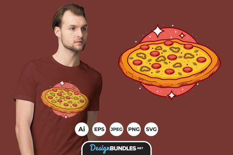 Pizza Illustrations Badge for T-Shirt Design example image 1