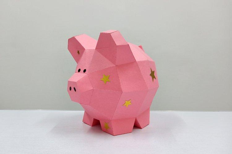 DIY Papercraft Piggy bank,Nursery decor,Pig svg,cricut files example image 1
