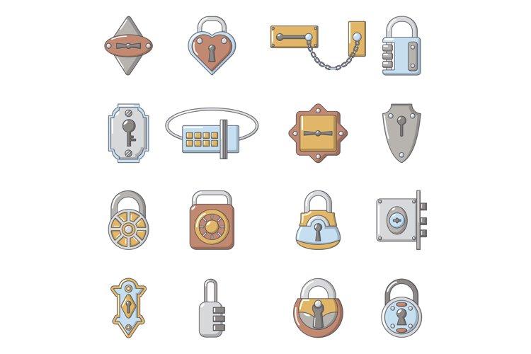 Lock door types icons set, cartoon style example image 1