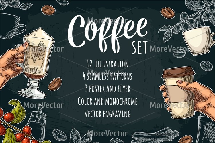 Set coffee. Glass latte macchiato with whipped cream and cinnamon stick. Hand hold cup. Branch with leaf, berry, beans. Sugar.  example image 1