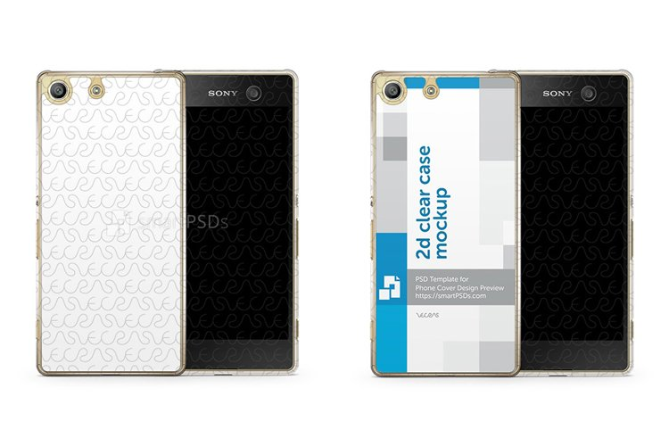 Sony Xperia M5 2d Clear Mobile Case Design Mockup 2015 example image 1