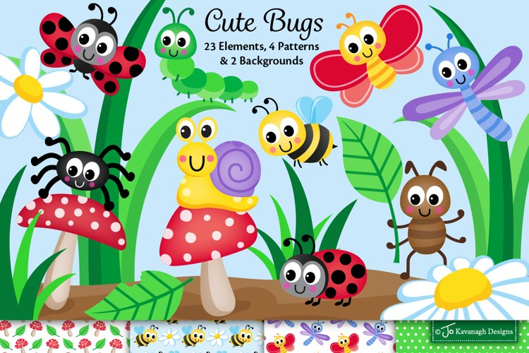 Cute bugs clipart graphics & illustrations, insects C45