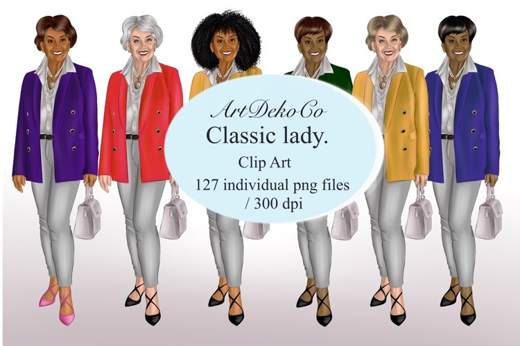 Fashion lady clipart, Mature lady clipart, example image 1
