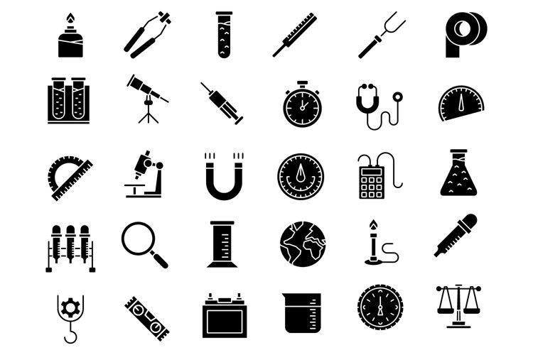 Laboratory equipment solid icons set example image 1