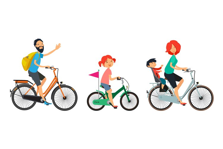 Family on bicycles walk. Male and female riding on bike example image 1