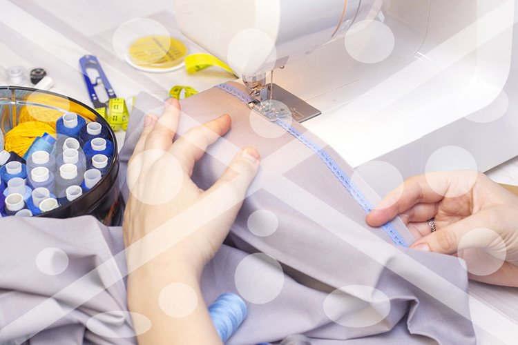 Background sewing. Hands of a seamstress on a sewing machine example image 1
