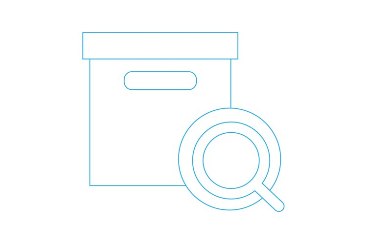 outlined box with search icon. Vector Line Icons example image 1