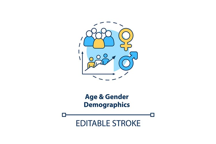 Age and gender demographics concept icon example image 1