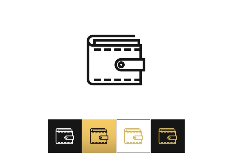 Purse or money wallet linear vector icon example image 1