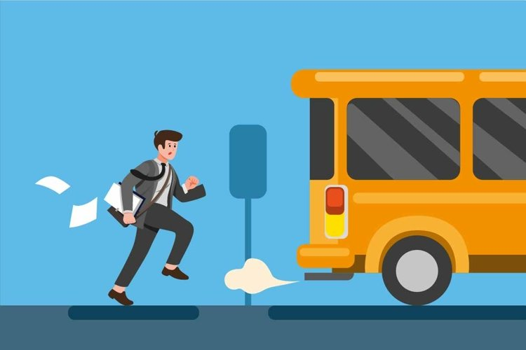 businessman late for work or a meeting. Employee is running example image 1