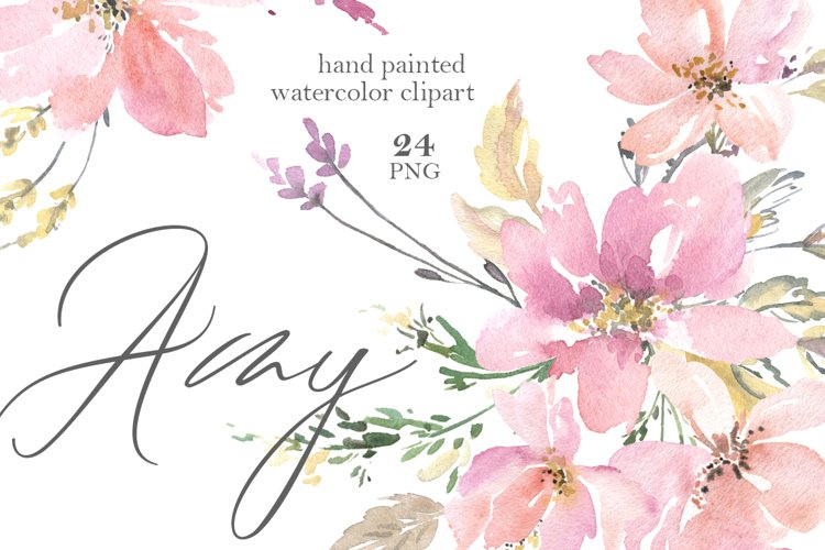 Pink Watercolor Flowers, Bouquets, Frames PNG example image 1