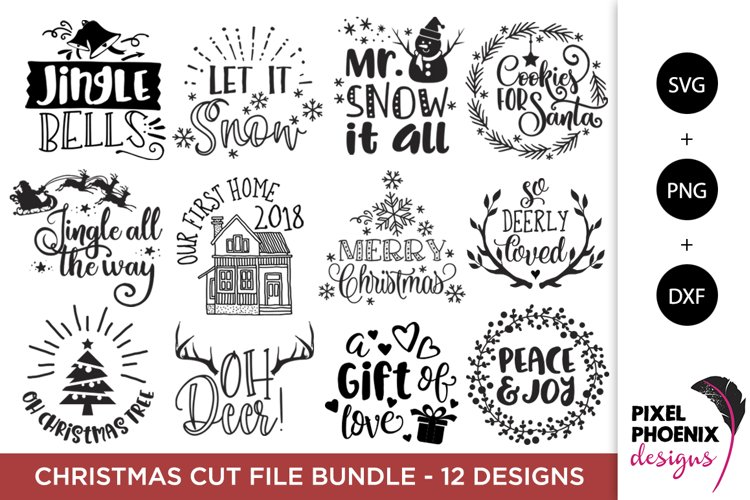 Christmas Bundle - 12 x SVG PNG DXF files - Christmas SVGs example image 1