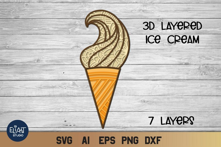 Ice Cream SVG 3d Layered   Summer SVG Cut File example