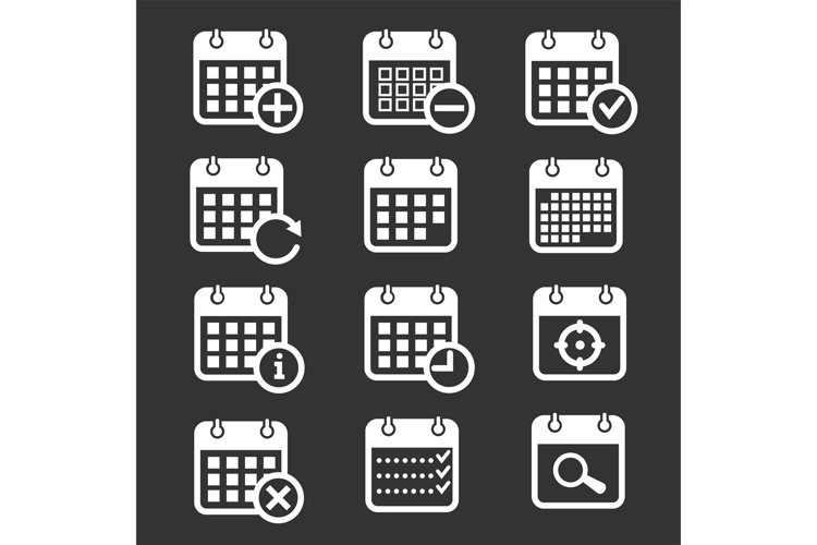 Calendar vector icons with event, add, delete, progress symb example image 1
