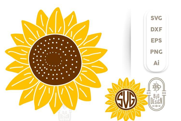 Sunflower SVG & Sunflower Monogram Frame SVG Cut Files example image 1