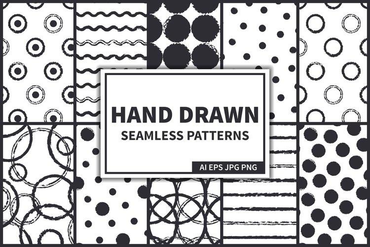 Ink Hand Drawn Seamless Patterns Set